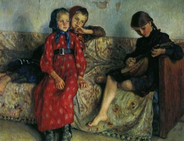 Деревенские друзья. Н. П. Богданов-Бельский, 1912 год. | Фото: artchive.ru.