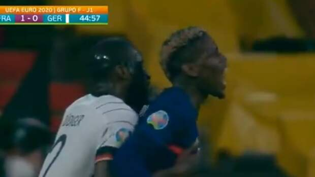 Рюдигер попытался укусить Погба вовремя матча Франция— Германия