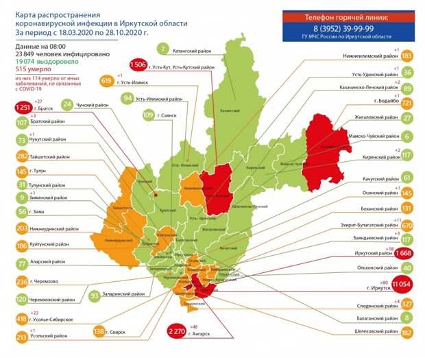 Больше 1,5 тысячи случаев COVID зарегистрировано в Усть-Куте и районе к 28 октября