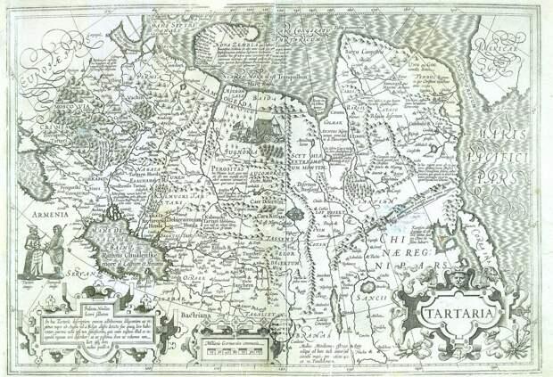 Карта Тартарии 17 века (ниже ее увеличенный фрагмент).
