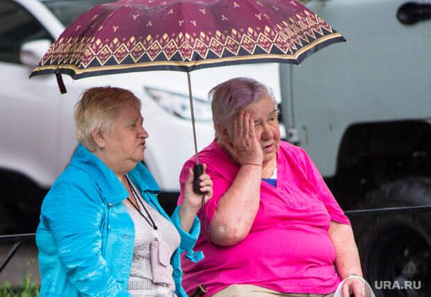 Дождь и солнце. Санкт-Петербург., пенсионерки, зонт, бабки, сплетни, дождь