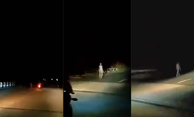Байкер с камерой снял ночью белую фигуру на дороге, которая не была похожа на человека