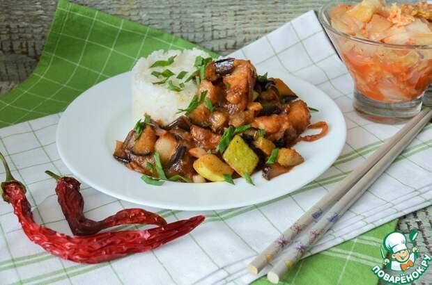 Грудинка с овощами по-корейски