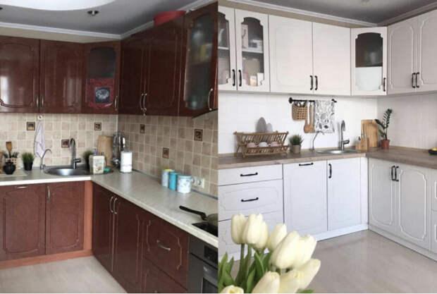 Перекрасили только фасады, и кухню не узнать! Как дать вторую жизнь старому гарнитуру из ЛДСП или МДФ?