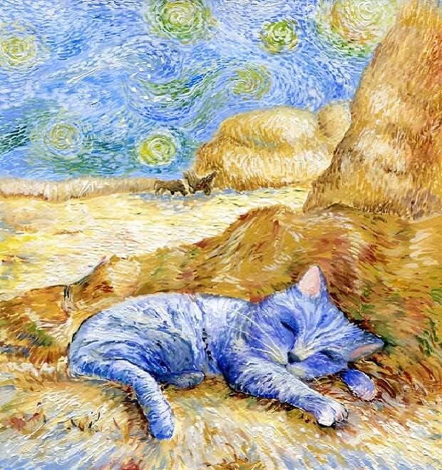 Кот в стиле Ван Гога.