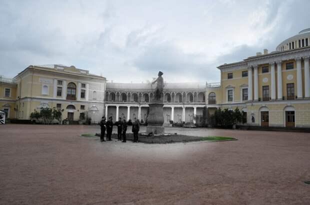 Павловск 1943-2011 Немецкие солдаты у Павловского дворца блокада, ленинград, победа