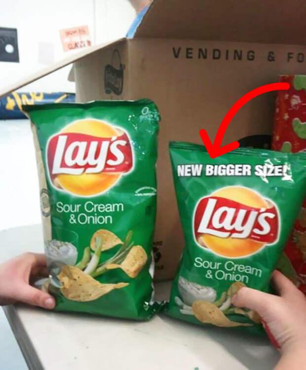 Новая упаковка, говорят они. Еще большего размера, говорят они еда, кругом обман, продукты