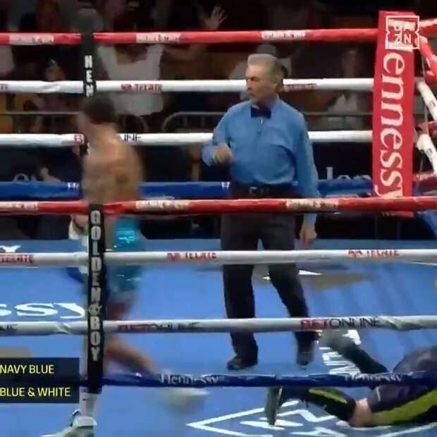 Узбекский боксер чуть не вылетел с ринга во время нокаута