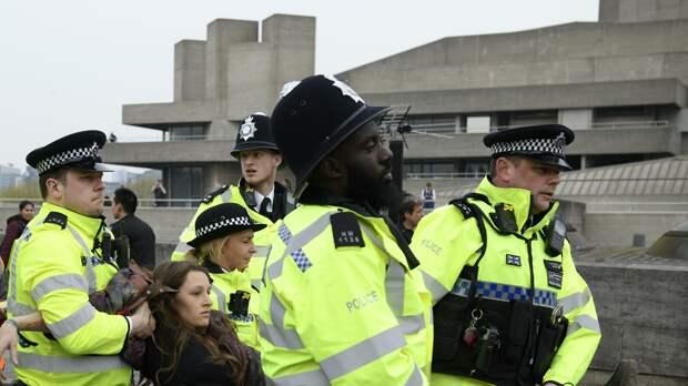 Сотрудники полиции задерживают участницу акции протеста против загрязнения окружающей среды, проходящей в Лондоне - РИА Новости, 1920, 03.10.2020