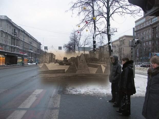 Ленинград 1942-2010 Угол Московского проспекта и улицы Решетникова. Танки Т-34-76 блокада, ленинград, победа