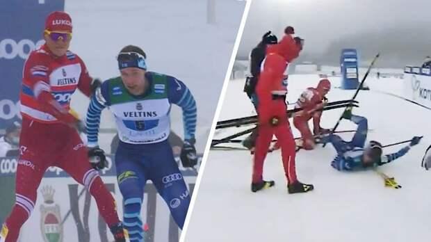 Русский лыжник психанул: ударил палкой и снес соперника