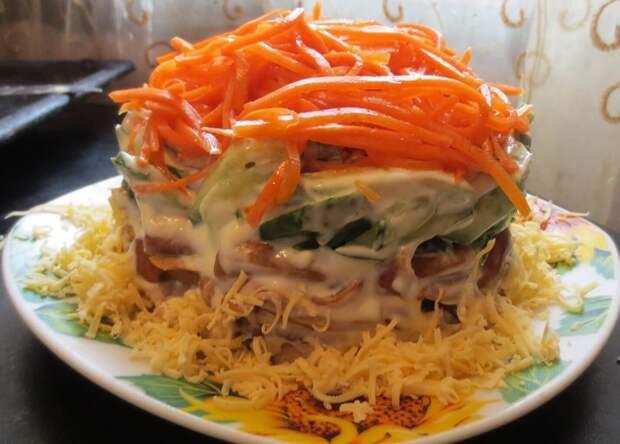 как приготовить салат с грибами и морковью