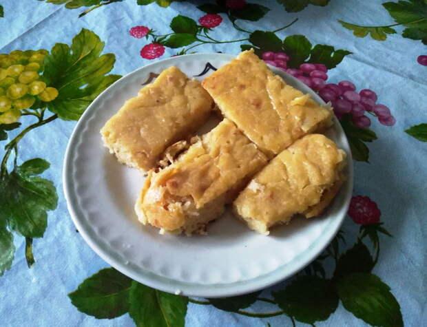 Заливной пирог с картошкой и капустой