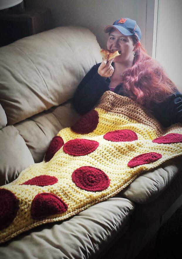 Одеяло-пицца вязание, новый год, подарки