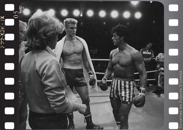 """Дольф Лундгрен и Сильвестр Сталлоне на съёмках фильма """"Рокки 4"""", режиссёр Сильвестр Сталлоне, Metro-Goldwyn-Mayer, 1985 год"""