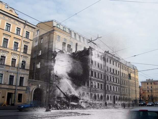 Ленинград 1942-2009 Невский 174. Попадание бомбы в школу блокада, ленинград, победа