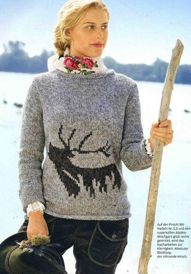 Схема свитера с необычным рисунком оленя