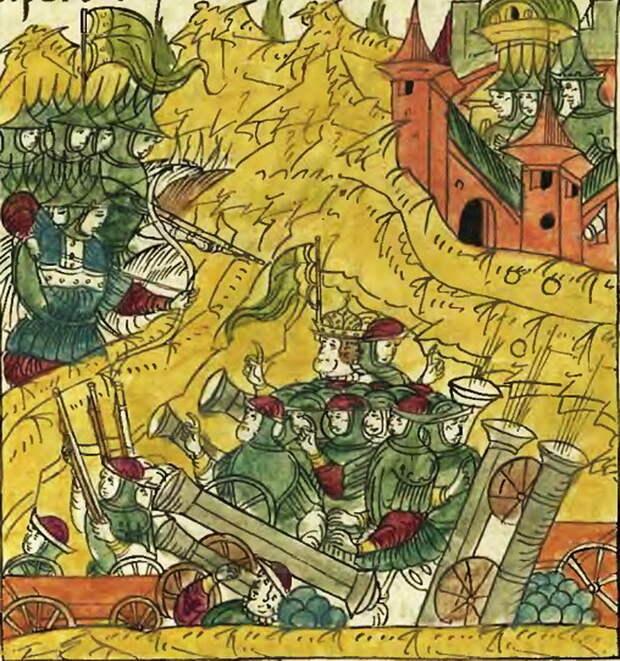 Русские полки атакуют ливонский укреплённый лагерь под Рингеном. Миниатюра из Лицевого свода - Триста рингенцев | Warspot.ru