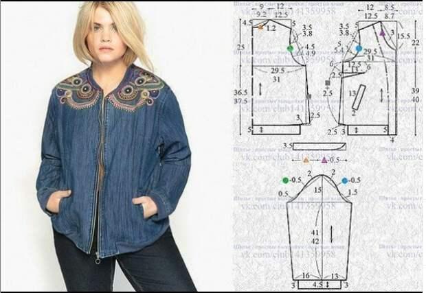 Выкройка бомбера из джинсовой ткани 52-54 и 56-58 размеры