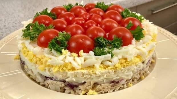 Салат Помидорная полянка. Оригинальный салат для любого торжества 2