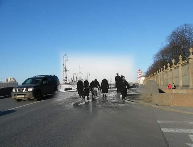Ленинград 1942-2009 Дворцовая набережная.Верхний Лебяжий мост блокада, ленинград, победа