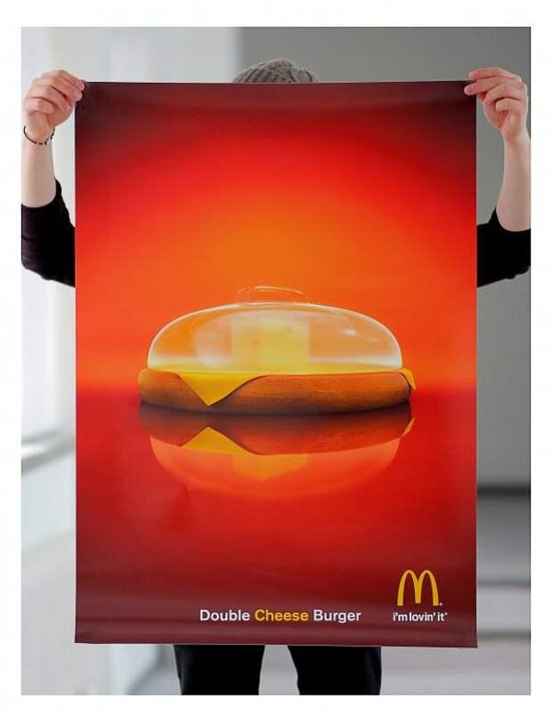 Double cheese burger, McDonald's, DDB Helsinki, McDonald's Corporation, Печатная реклама
