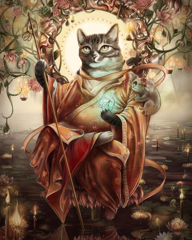 Кот, изображающий силу и знания, которые пробуждают суть человека.