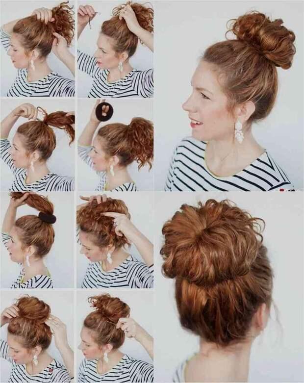 бублик на короткие, средние и длинные волосы фото 7