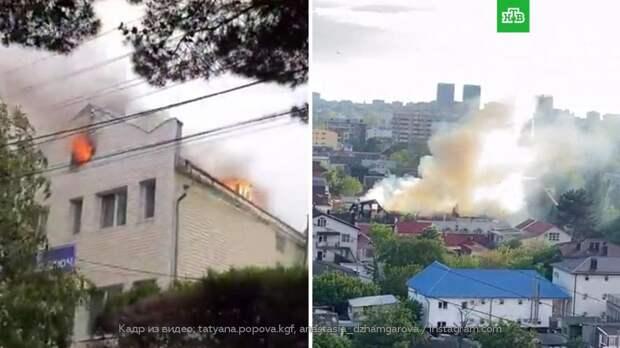 В Анапе загорелась гостиница