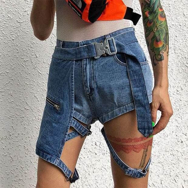 Необычные джинсовые шорты