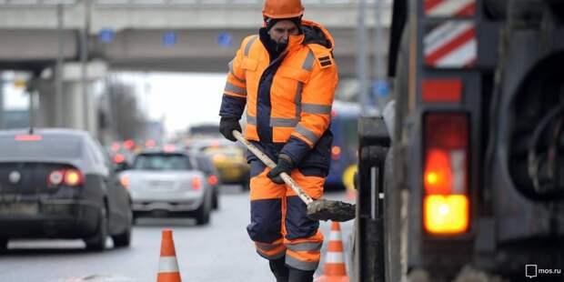 На Хорошевской эстакаде ведутся дорожные работы