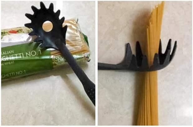 Отверстие в ложке для спагетти нужно для того, чтобы отмерить порцию макарон. / Фото: Syl.ru