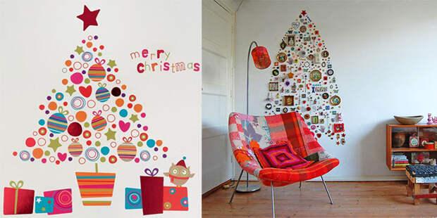 Крутой пример украсить стену мелкими фрагментами, что определенно создаст новогоднюю атмосферу.
