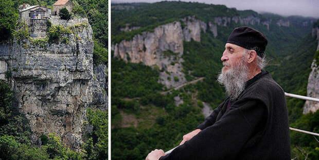 Грузинский монах 20 лет живет насорокаметровом известняковом монолите вИмеретии