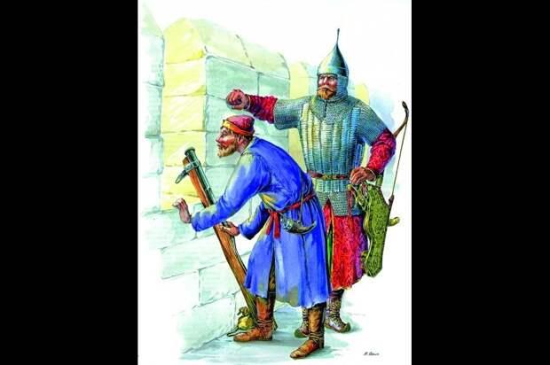 Казенный пищальщик с затинной пищалью и голова дворянской сотни. Конец XV- начало XVI в.