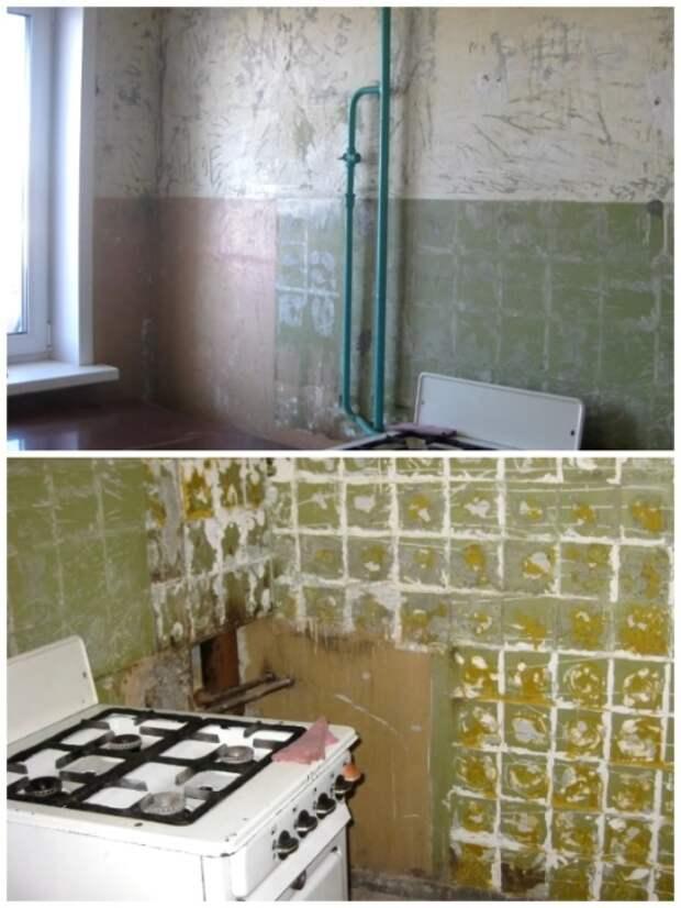 Для начала вынесли всю мебель и очистили стены от кафеля и старых обоев. | Фото: youtube.com.