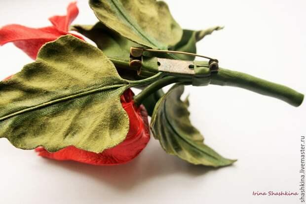 «Китайский фонарик». Создаем брошь-физалис из натуральной кожи