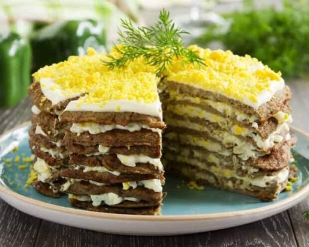 Печёночный торт из куриной печени
