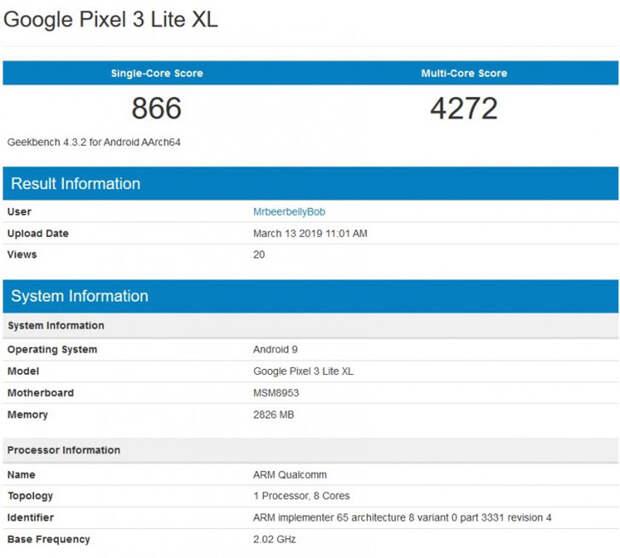 Недорогой смартфон Google Pixel 3 Lite XL может получить 3-летний чипсет Snapdragon 625