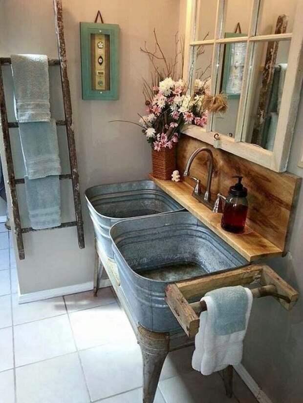 Оригинальные идеи из оцинкованных ванн и ведер