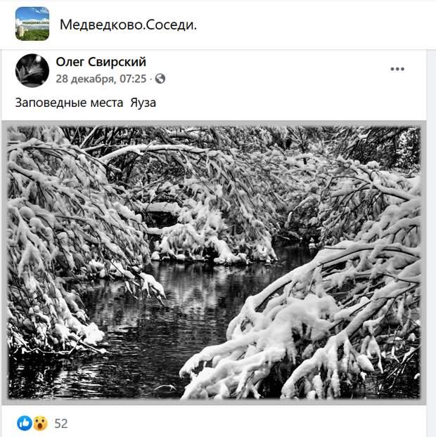Фото дня: зимняя Яуза вдохновила фотографа из Медведкова