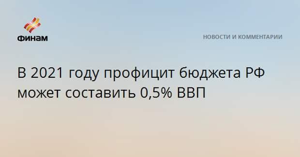 В 2021 году профицит бюджета РФ может составить 0,5% ВВП
