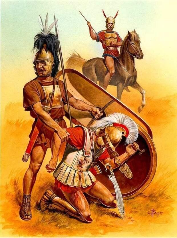 Самниты берут в плен римского солдата. Картина современного художника
