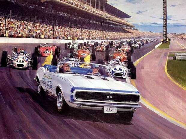 Старт 'Инди-500' 1967 года. За пейс-каром Chevrolet Camaro слева хорошо виден Paxton STP под номером 40 авто, автоспорт, газотурбинный двигатель, гтд, двигатель, мотор, технологии, турбина