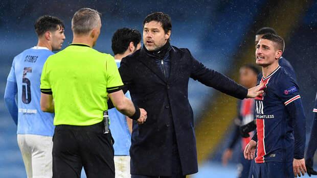 «Арбитр послал меня». Верратти пожаловался насудейство после матча «Манчестер Сити»— «ПСЖ»