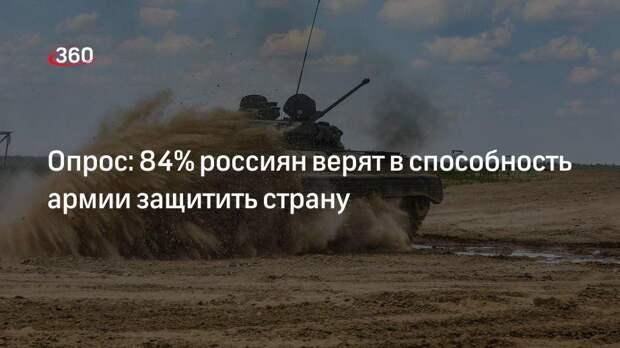 Опрос: 84% россиян верят в способность армии защитить страну