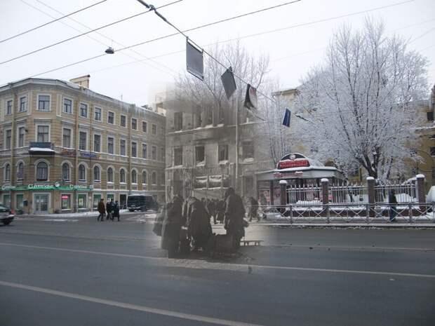 Ленинград 1942-2010 Московский проспект 37. Сквер на месте разрушенного дома блокада, ленинград, победа