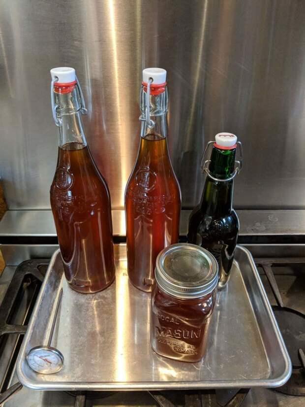 Это первая полученная в 2018 году продукция. После 8 часов испарения было получено около 2,5 литров сиропа кленовый сок, своими руками, сделай сам, сироп, сок