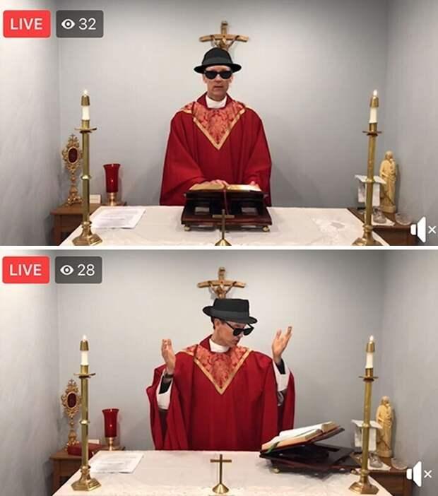 Священник случайно провел онлайн-мессу с включенными фильтрами, добавляющими шляпу и темные очки