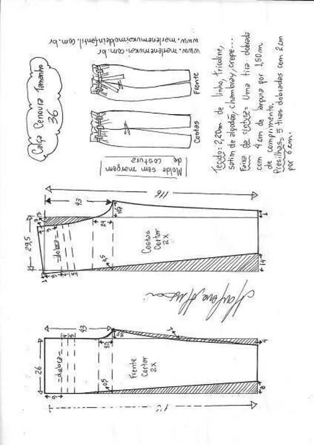 Выкройки завышенных брючек (подборка)